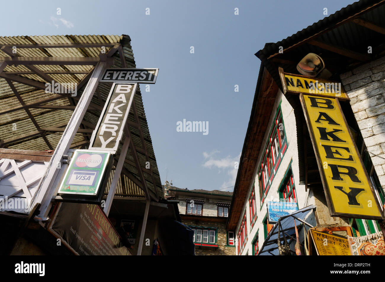 Two bakeries in Namche Bazaar, the Everest Bakery and the Namche Bakery - Stock Image