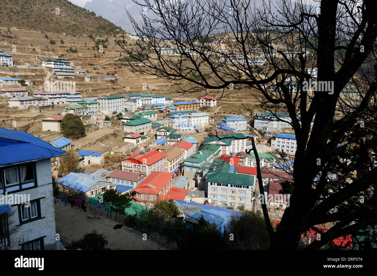 A view across Namche Bazaar, the capital of the Khumbu region of Nepal - Stock Image