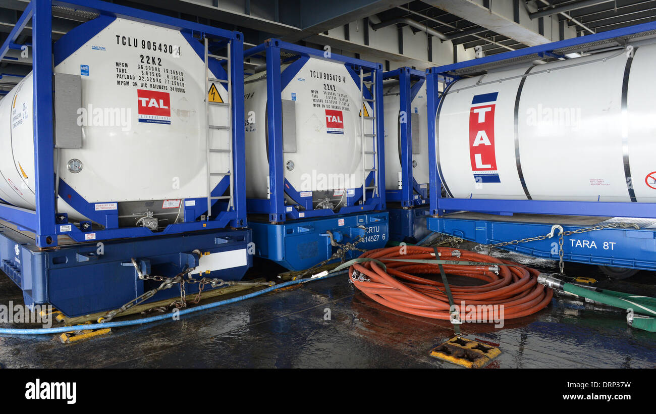 Chemical storage for neutralizing Syrian chemical weapons onboard the US Navy Ready Reserve Force vehicle transport - Stock Image