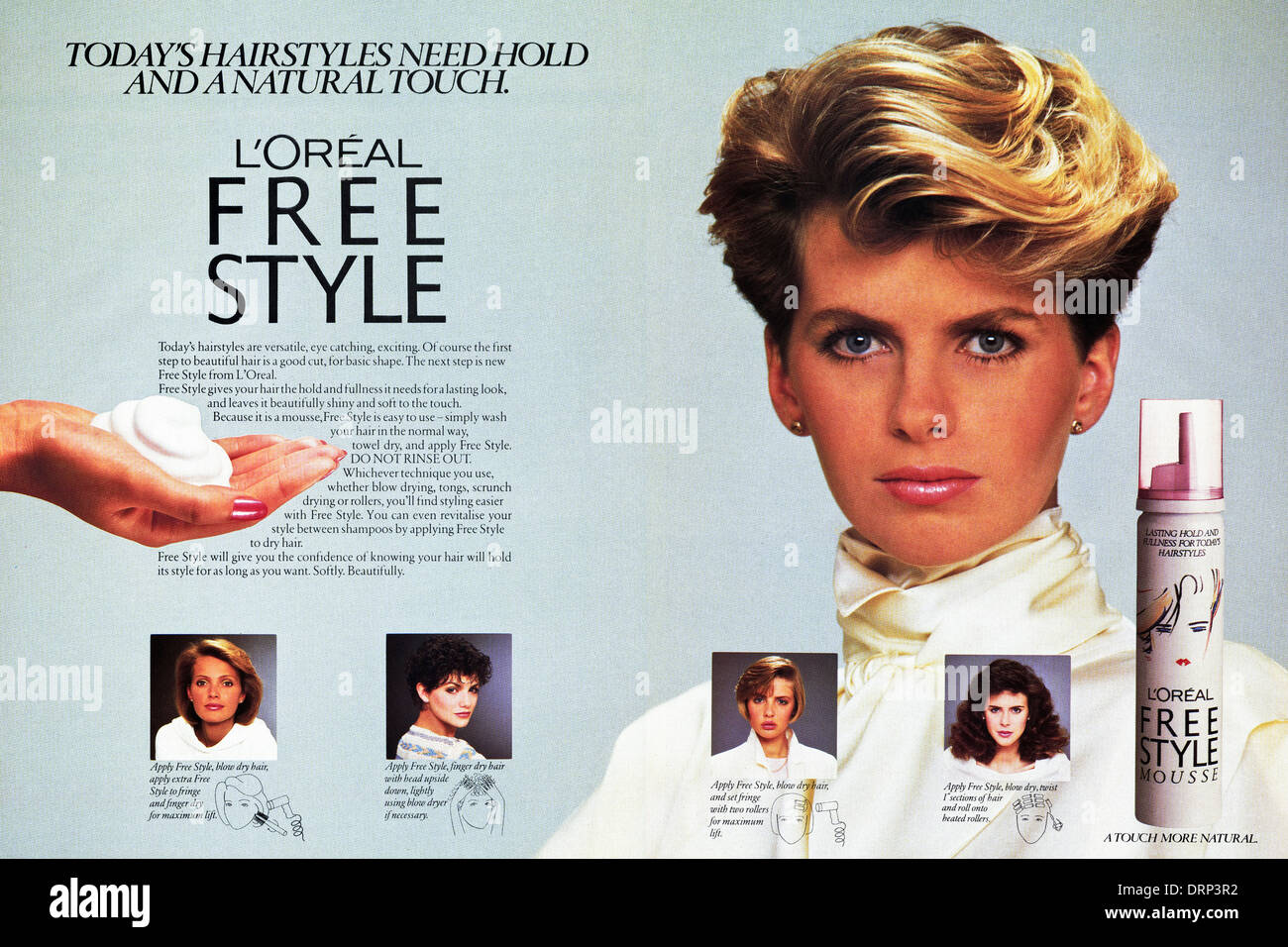 1980s fashion magazine double page advertisement advertising L'OREAL FREE STYLE MOUSSE for hair, advert circa - Stock Image