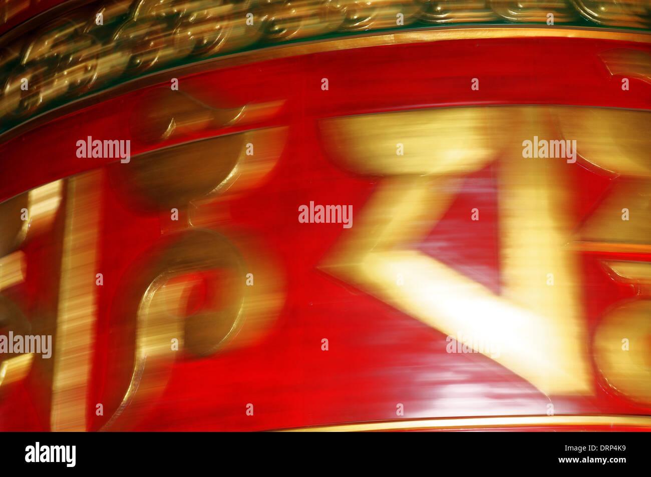 Spinning prayer wheel in Nepal - Stock Image