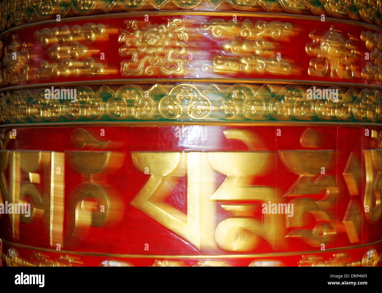 Spinning prayer wheel in Nepal - Stock Image