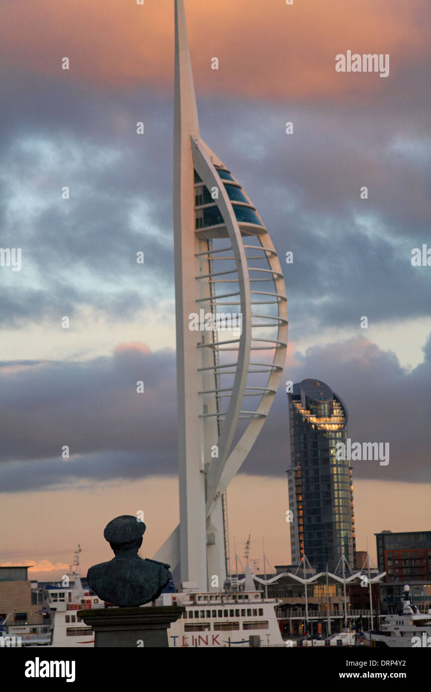 """Spinnaker Tower and """"The lipstick tower"""" at Portsmouth, Hampshire UK at dusk from Gosport with the bust of The Lord Stock Photo"""
