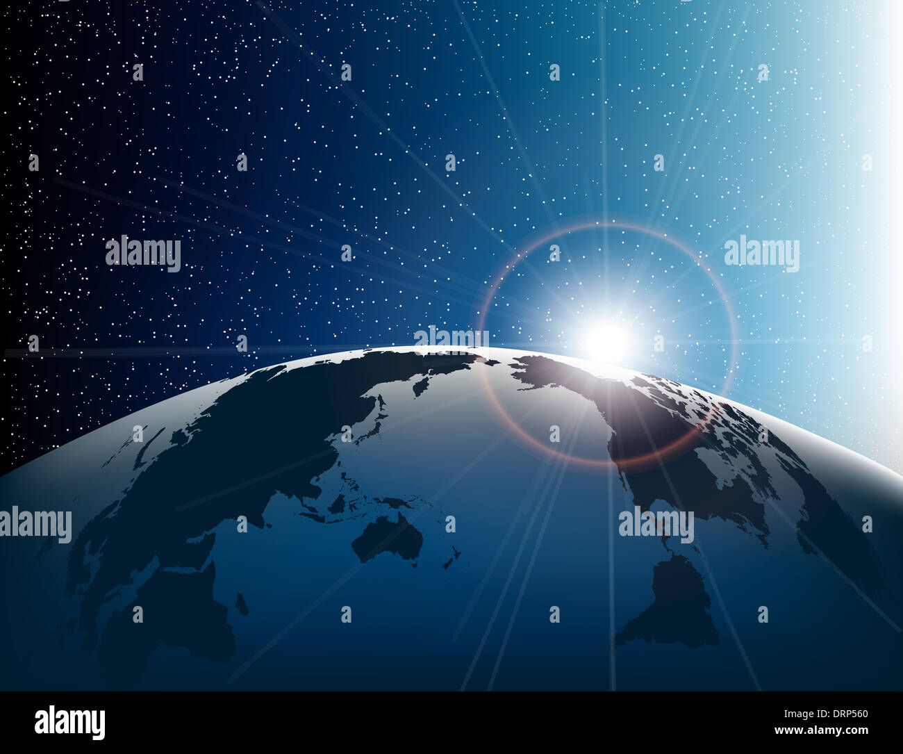 Space, Earth and stars - Stock Image