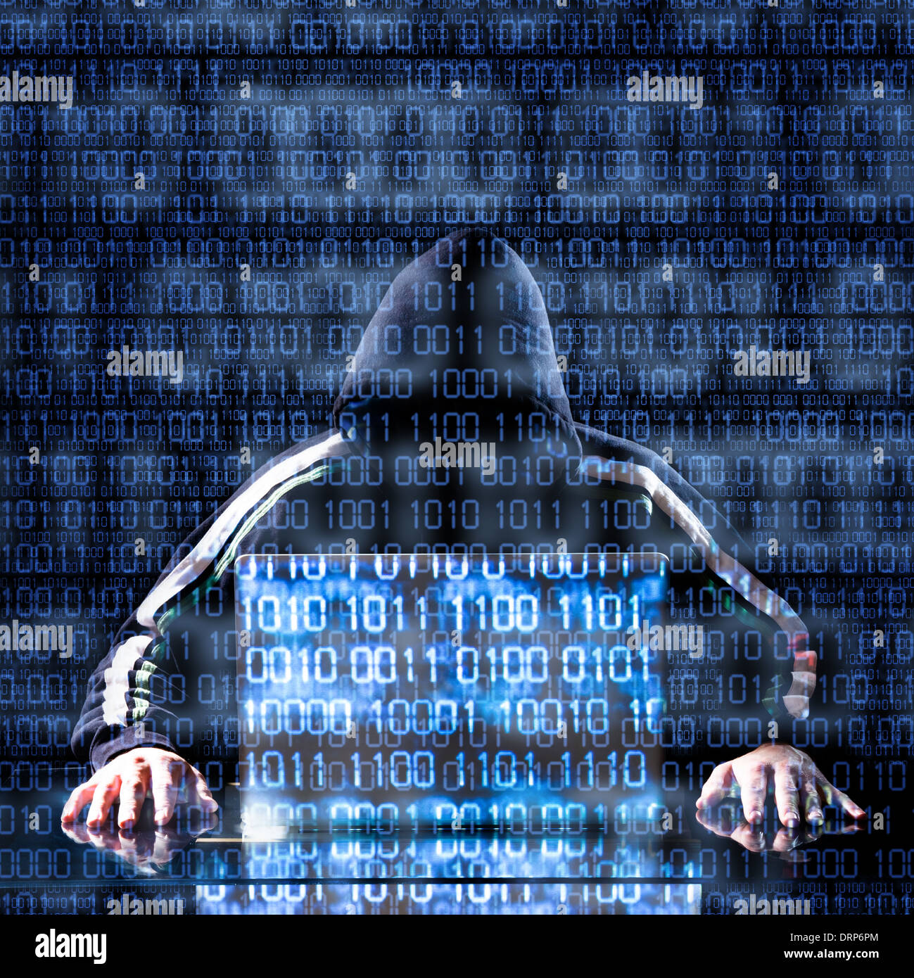 Hacker waiting for something with binary code in background - Stock Image