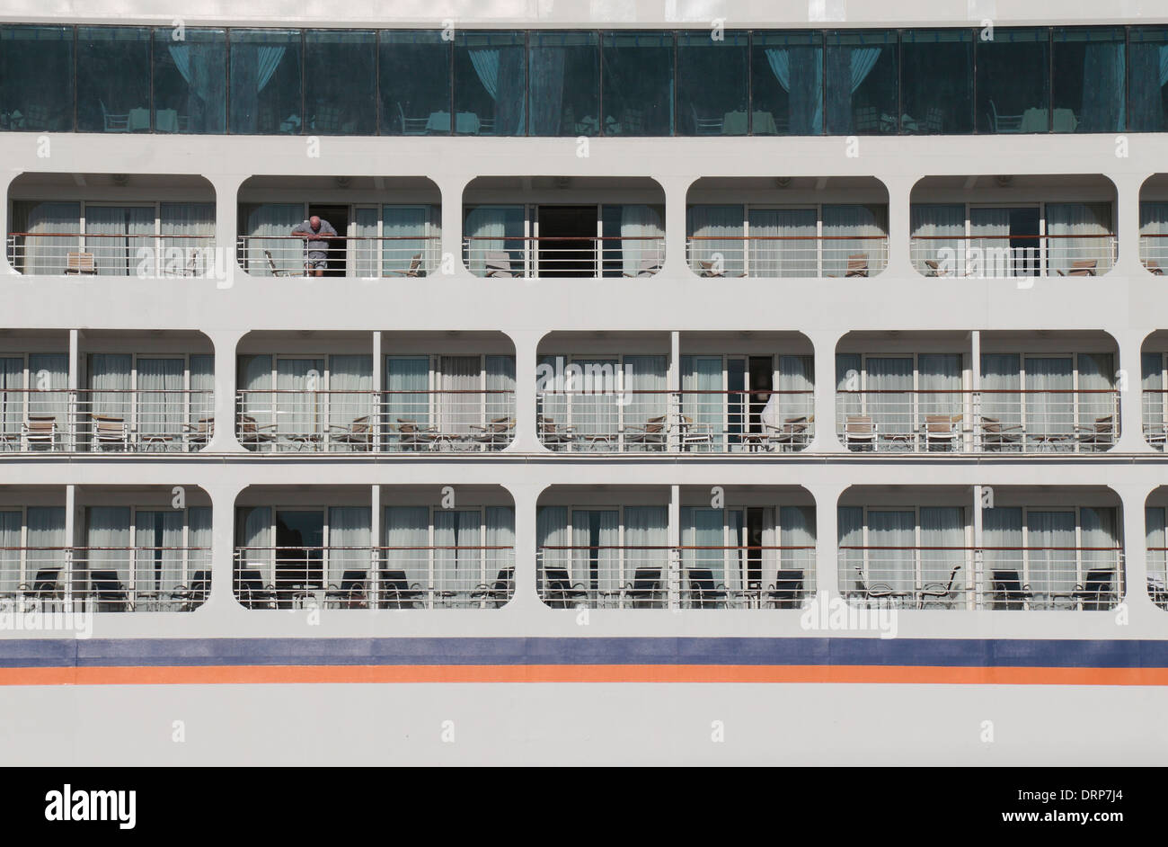 Detail showing three decks of cabin balconies on the Columbus 2 cruise ship in the Port of Cadiz, Cadiz, Portugal. Stock Photo