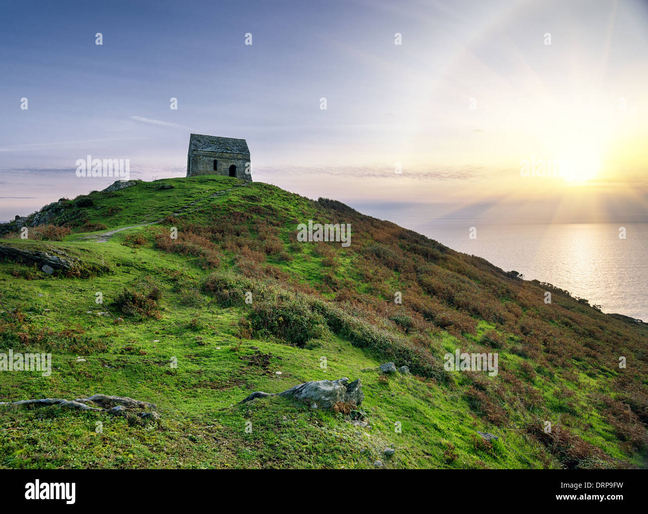Ruined chapel on hill at Rame Head in Cornwall - Stock Image