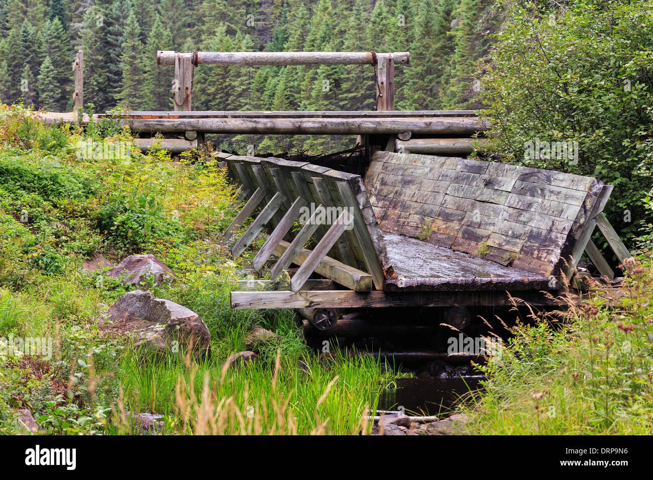 Log chute at Algonquin Logging Museum, Algonquin Provincial Park, Ontario, Canada - Stock Image