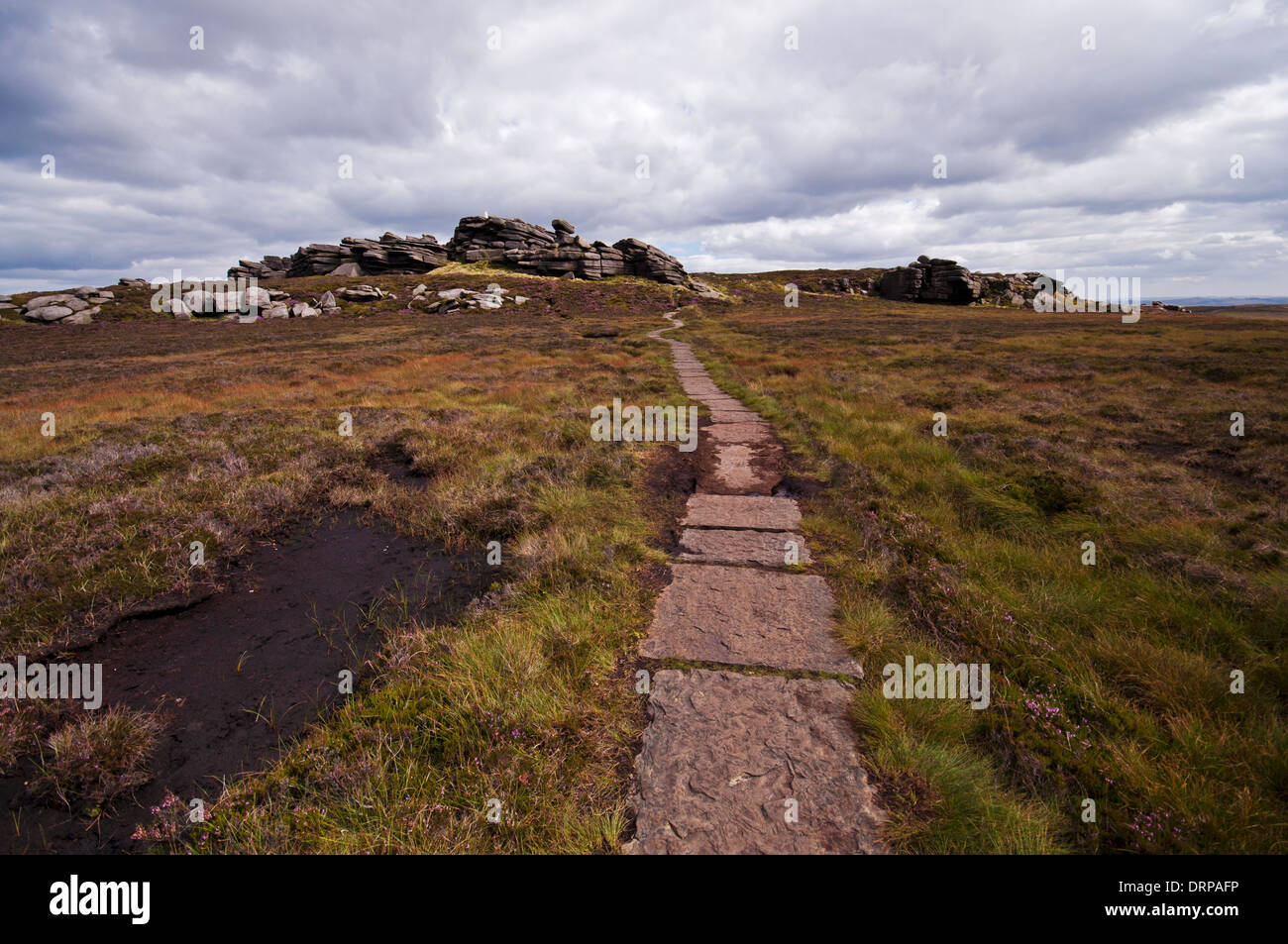 Footpath to Back Tor from Lost Lad on Derwent Edge in the Peak District National Park. - Stock Image