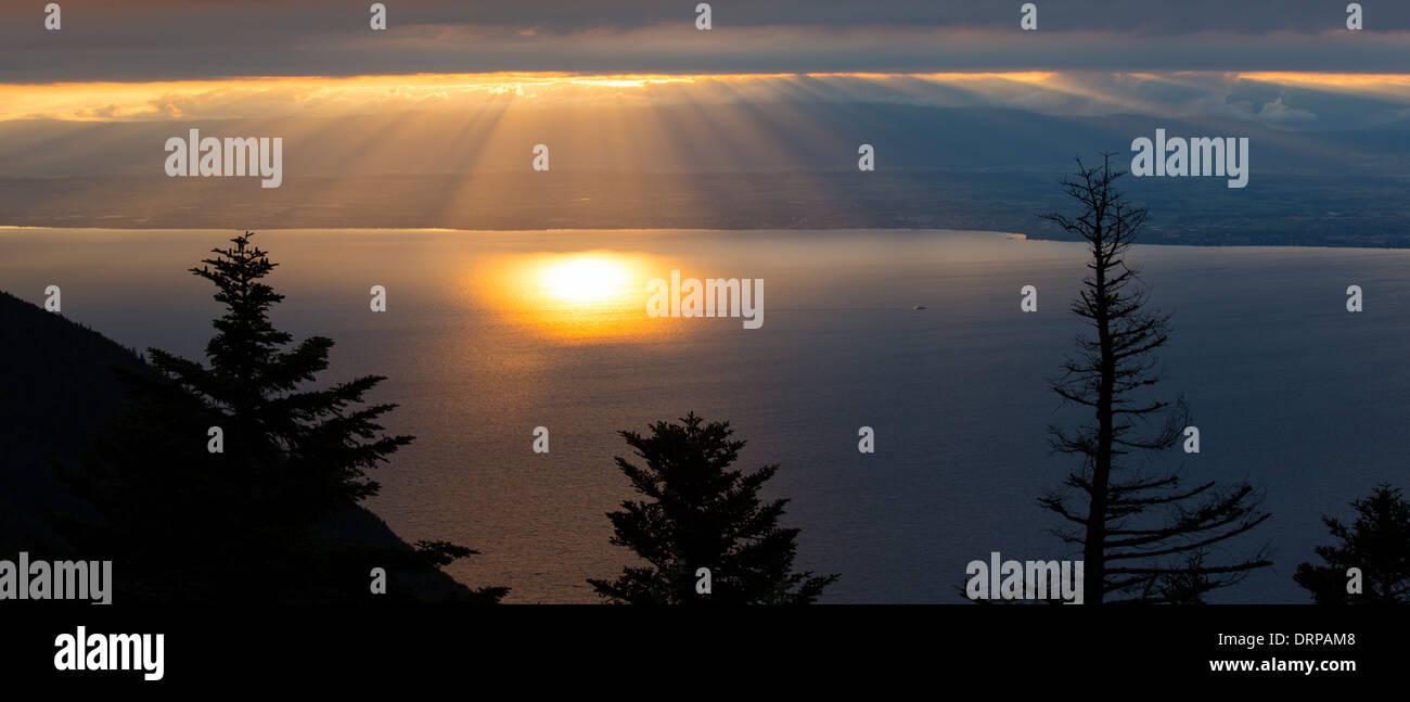 Sunset over Lac Leman, Lake Geneva, France Stock Photo