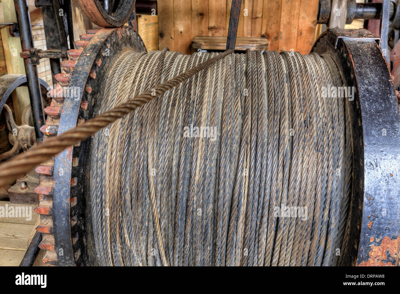 Cable winch on the William M, steam-powered tugboat, Algonquin Logging Museum, Ontario, Canada - Stock Image