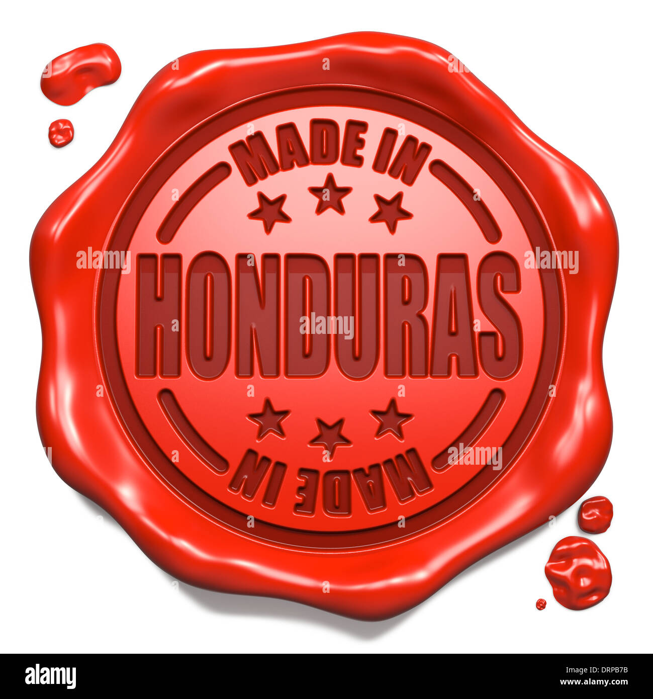 Made in Honduras - Stamp on Red Wax Seal. Stock Photo