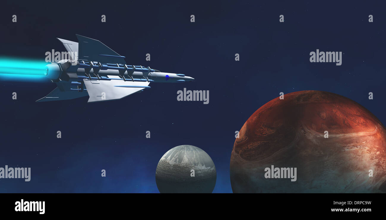 A star-ship from Earth travels to a red planet to begin an exploratory expedition. - Stock Image