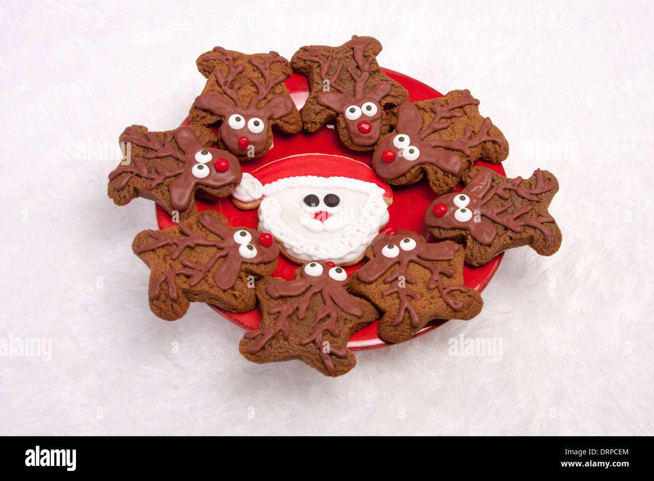Plate Of Santa Claus And Eight Reindeer Decorated Christmas Cookies