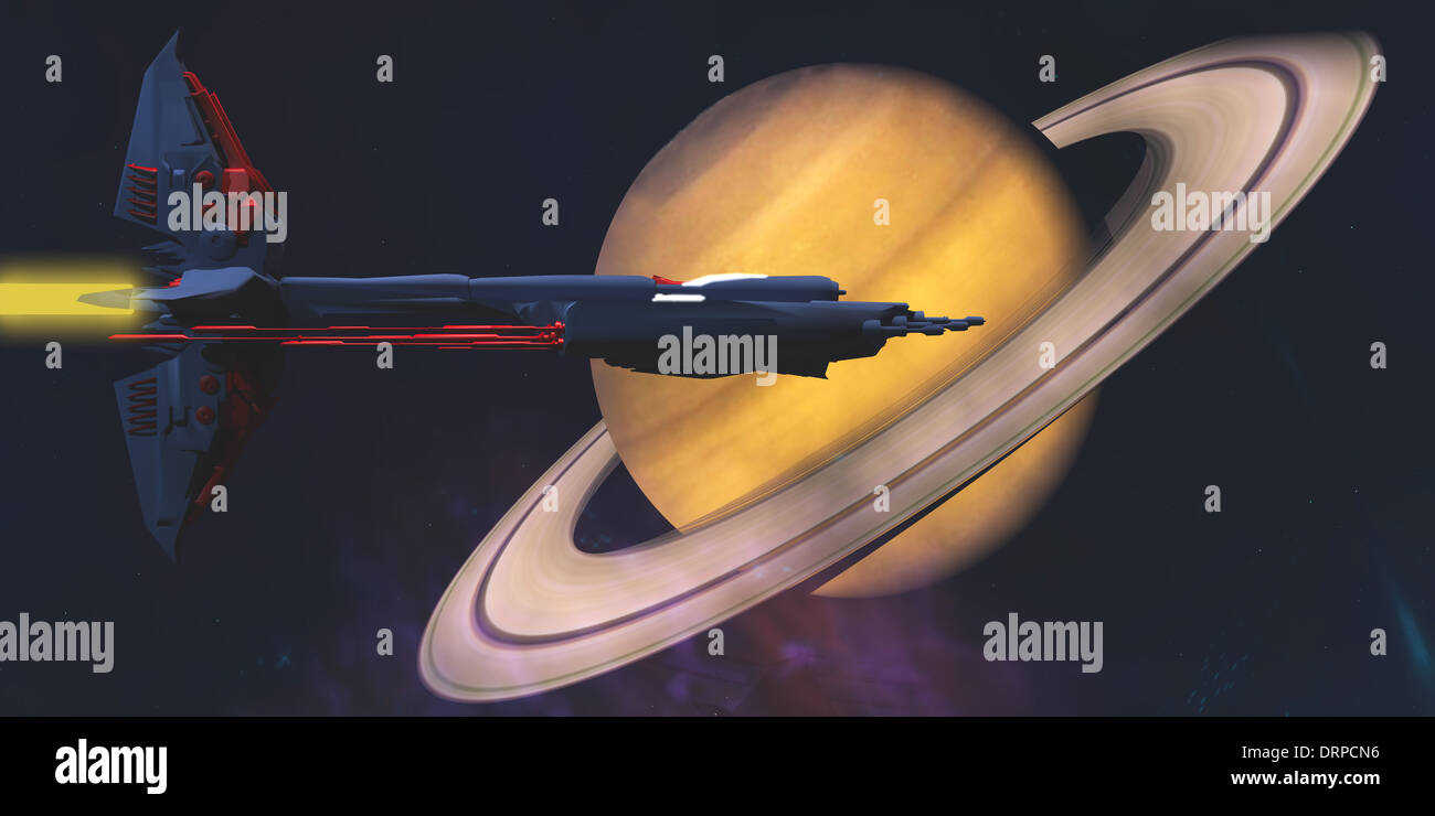 A spaceship from Earth comes to visit the planet of Saturn. - Stock Image