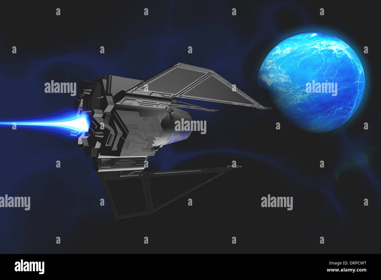 A small spacecraft from Earth reaches a water planet after many lightyears. - Stock Image