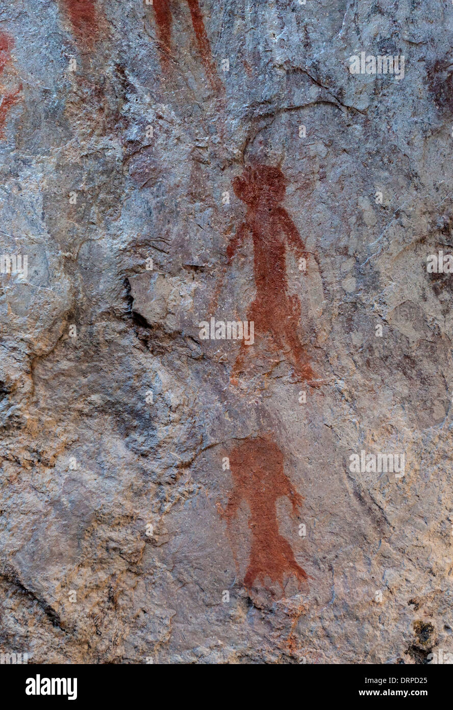 Ancient Indian red pictographs found in Portal Arizona. - Stock Image