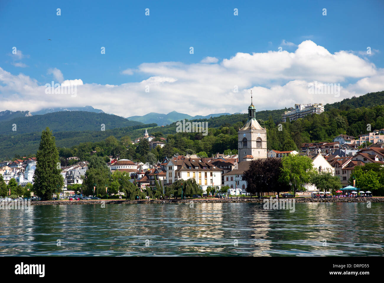 the town and church of evian les bains by lake geneva lac leman stock photo 66261473 alamy. Black Bedroom Furniture Sets. Home Design Ideas