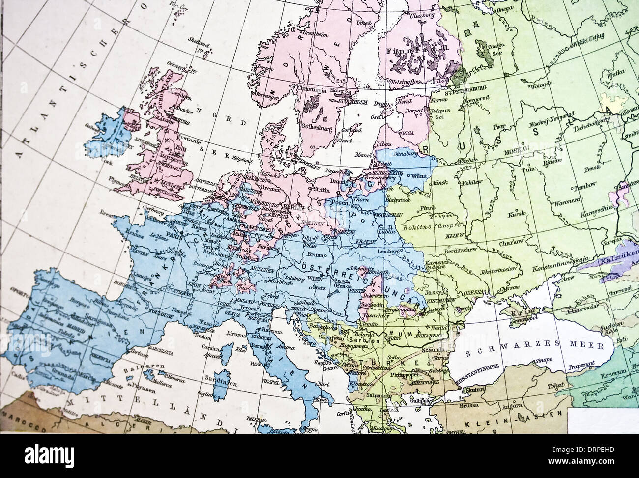 Ancient map or Europe. Handmade in 1881 Stock Photo