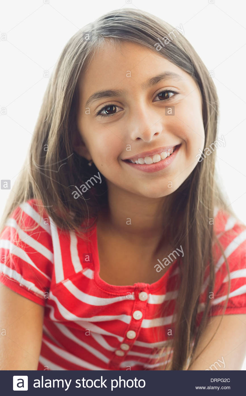 Portrait of girl smiling - Stock Image