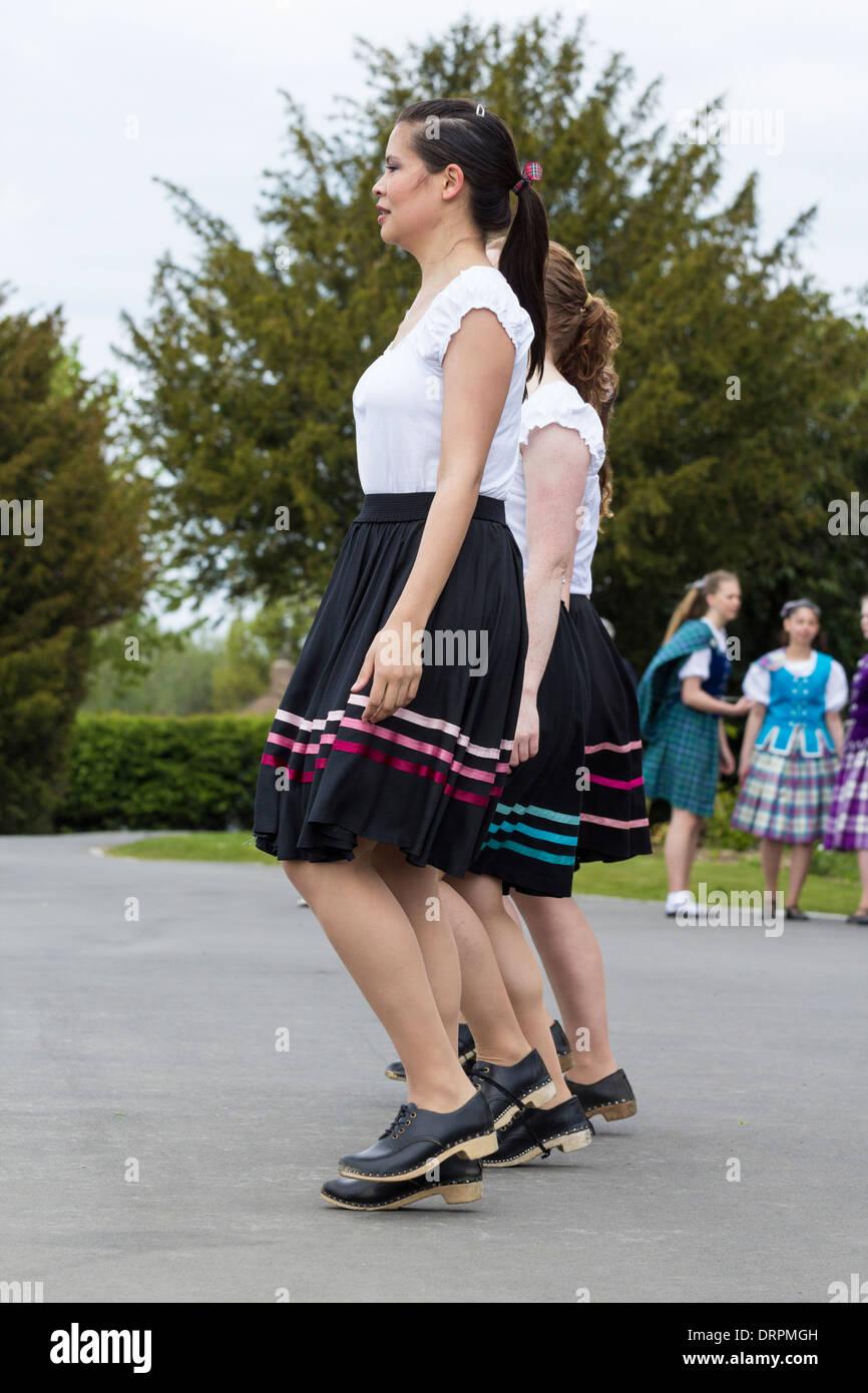 Highland dancers and clog dancers. UK - Stock Image