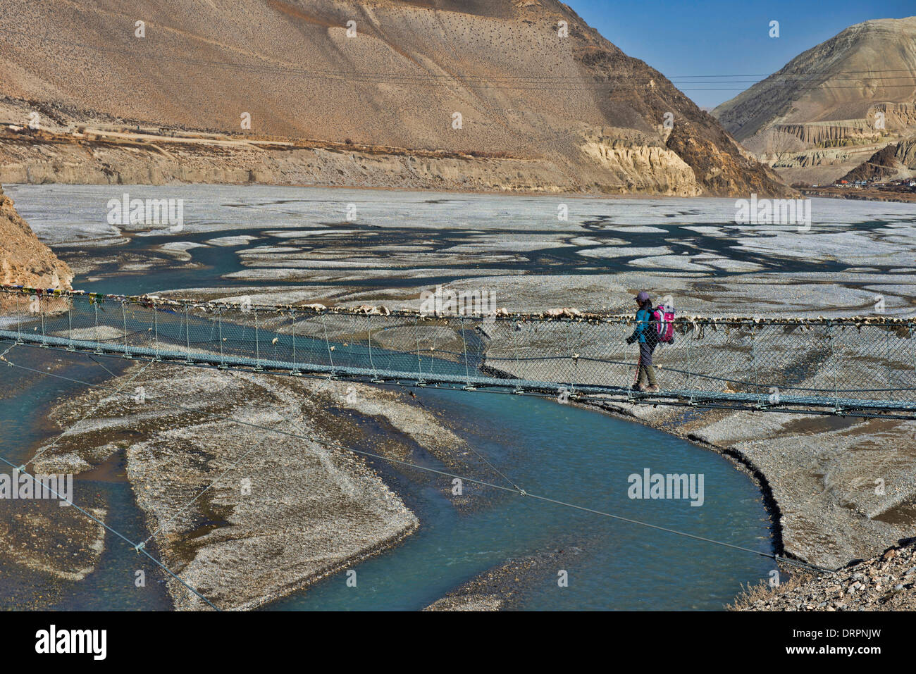looking up the Kali Gandaki River into the Kingdom of Mustang in the Annapurna region of Nepal - Stock Image
