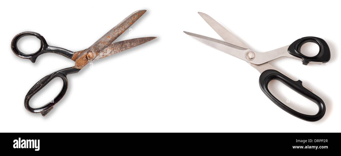 Scissors and old scissor isolated on white - Stock Image