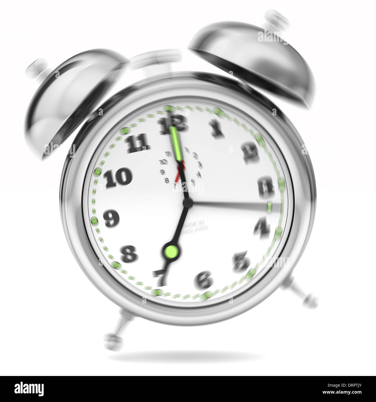 Alarm Clock ringing. Chrome shiny metal. Close up Isolated on a white background. Hammer hitting bells. Jumping Stock Photo