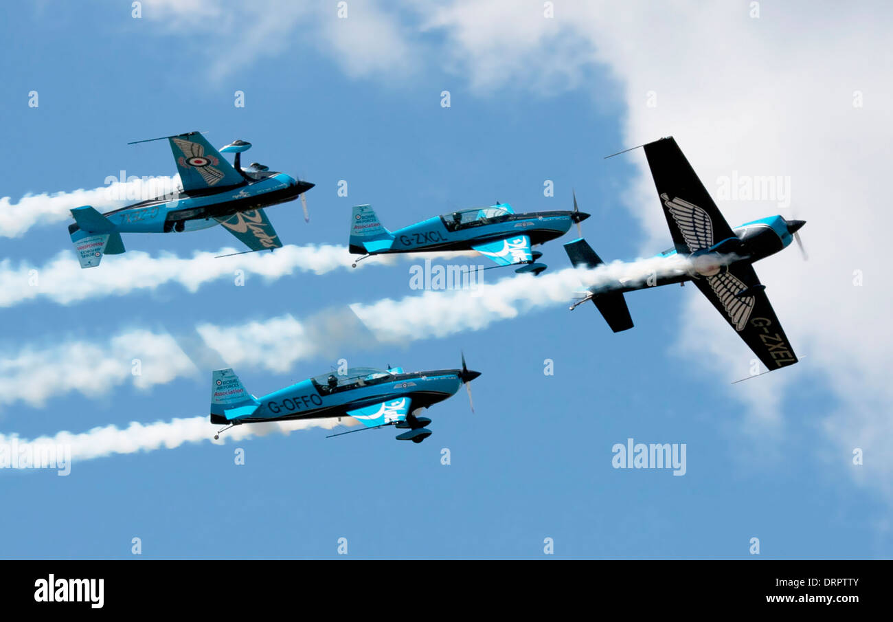 The blades aerobatic display team in close formation at Farnborough International Airshow 2012 - Stock Image
