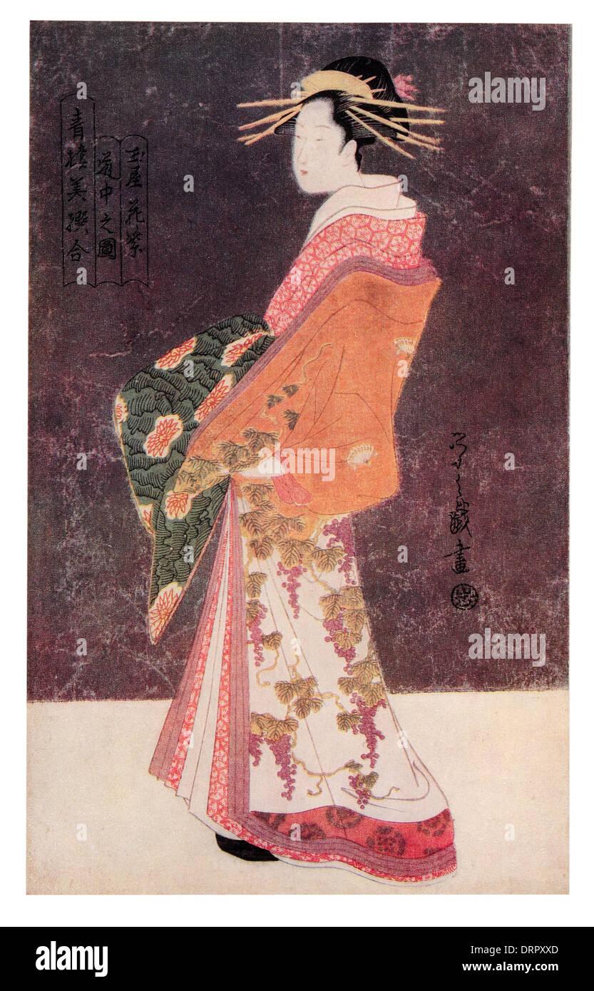 Kombusai Yeishi. The Courtisane Hanamurasaki in costume of pageantry. - Stock Image