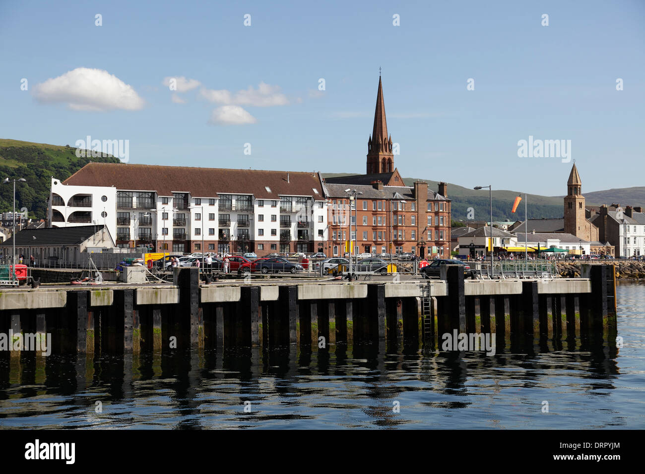 View of Largs from the Calmac Ferry arriving from Cumbrae on the Firth of Clyde, North Ayrshire, scotland, UK - Stock Image