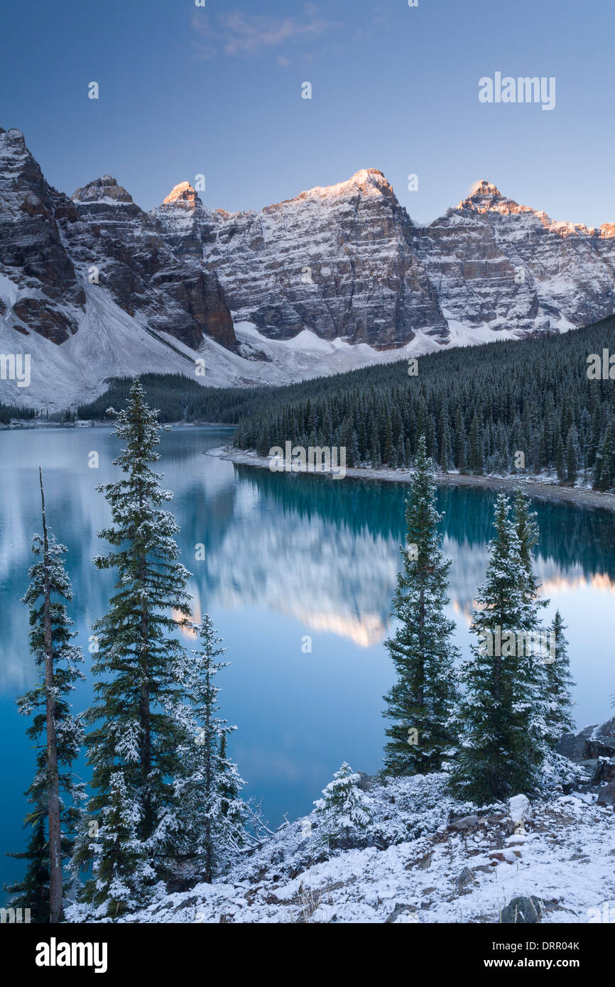 Snowy Morning At Moraine Lake In The Canadian Rockies Banff