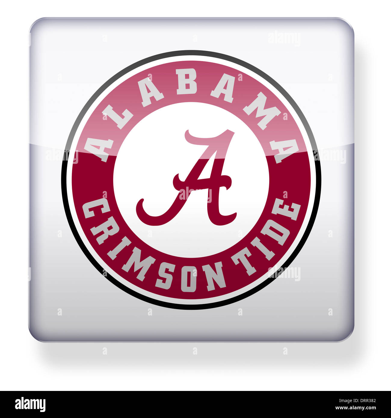 Alabama Crimson Tide US college football logo as an app icon. Clipping path included. - Stock Image