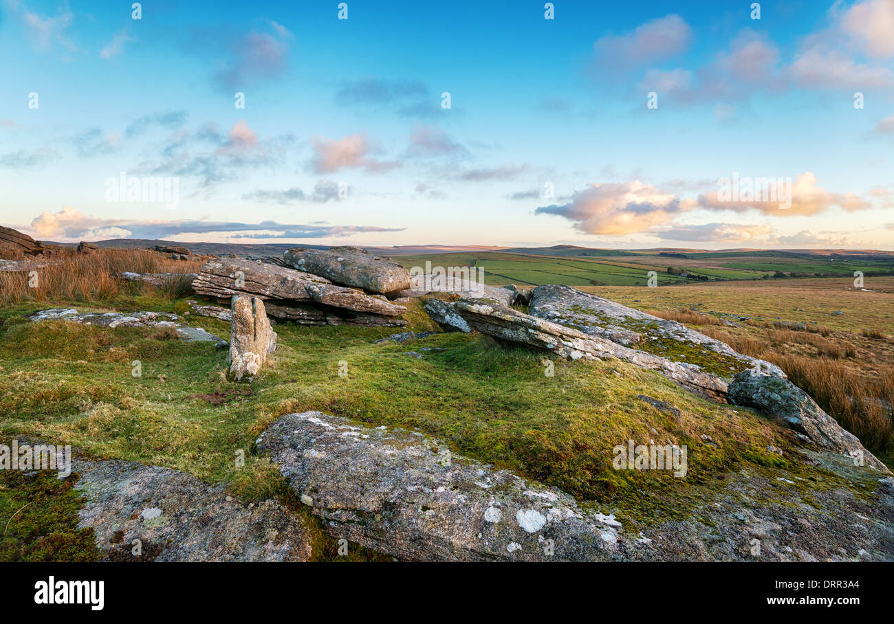 A view across Bodmin Moor from Alext Tor in Cornwall - Stock Image