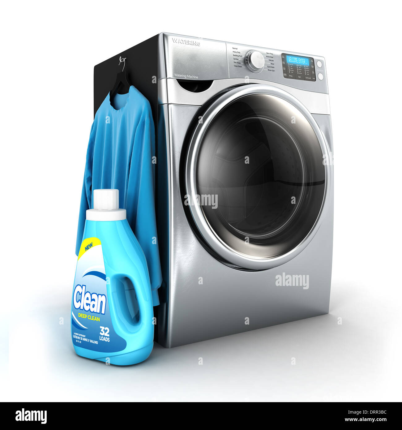 3d washing machine and detergent bottle, isolated white background, 3d image Stock Photo