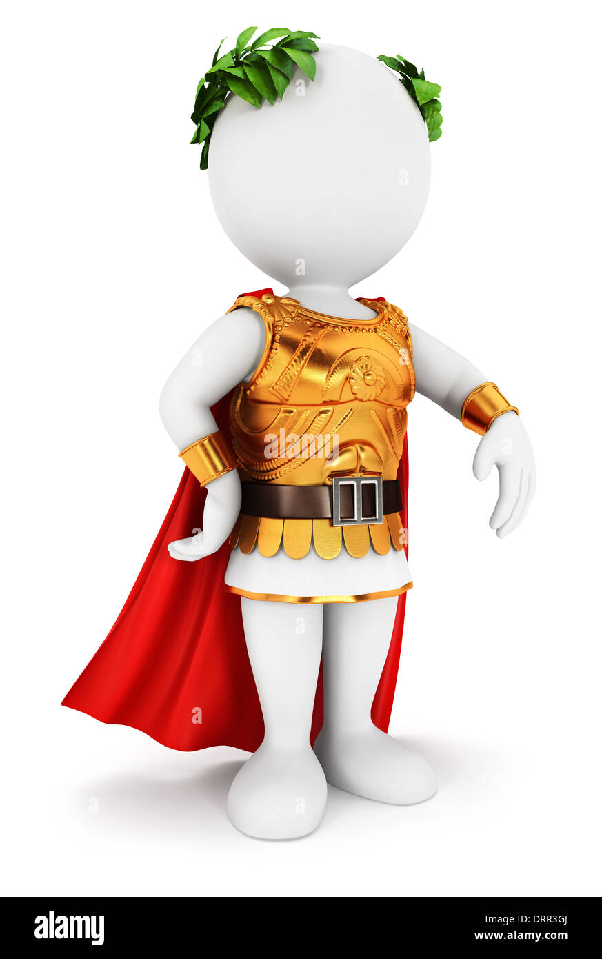 3d white people roman emperor, isolated white background, 3d image Stock Photo