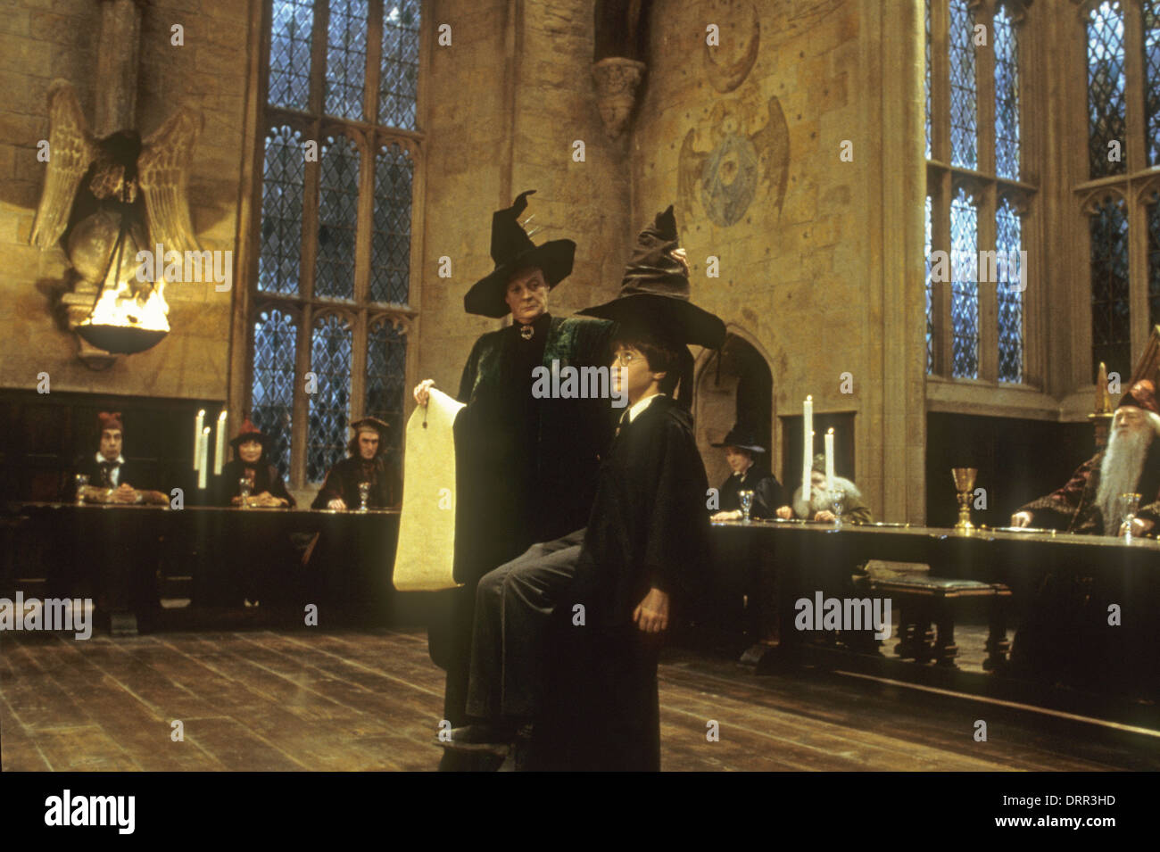 HARRY POTTER AND THE SORCERER'S STONE 2001 Warner Bros film with Maggie Smith and Daniel Radcliffe - Stock Image