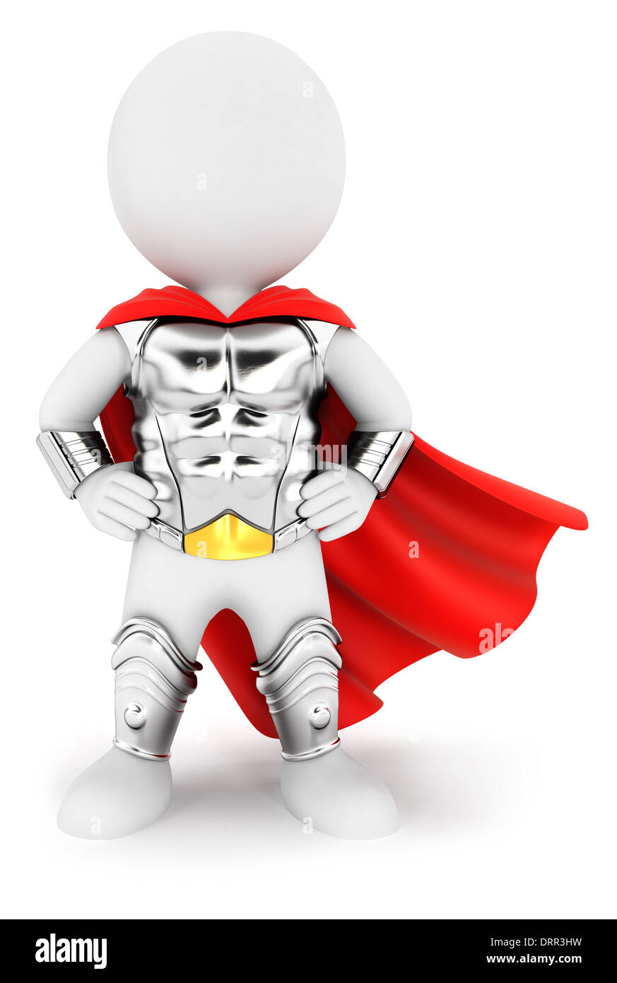3d white people superhero with an armour, isolated white background, 3d image Stock Photo