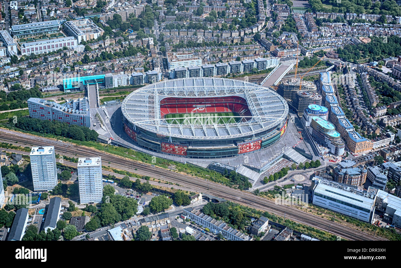 An aerial view of the Emirates Stadium or Ashburton Grove, home to Arsenal Football Club in Islington, London, England. - Stock Image