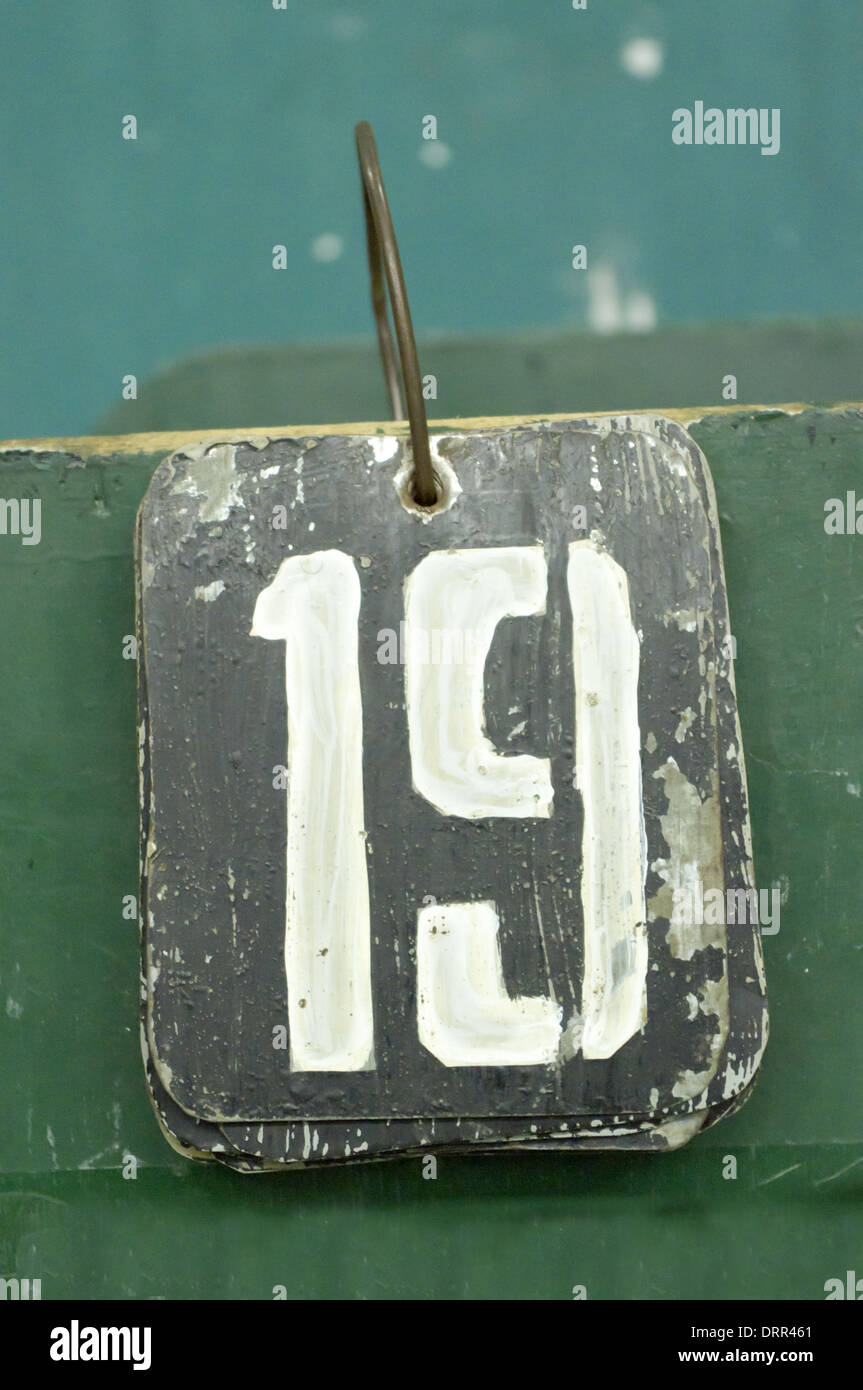 number tag, nineteen - Stock Image