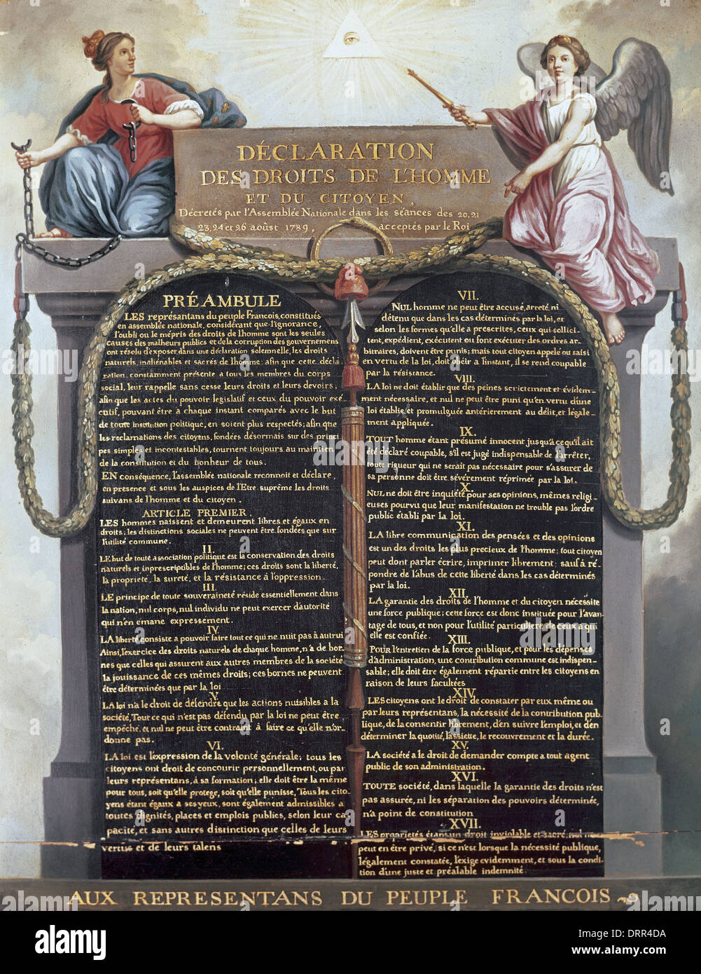 Declaration of the Rights of Man and of the Citizen, August 26, 1789. It is a fundamental document of French Revolution. - Stock Image