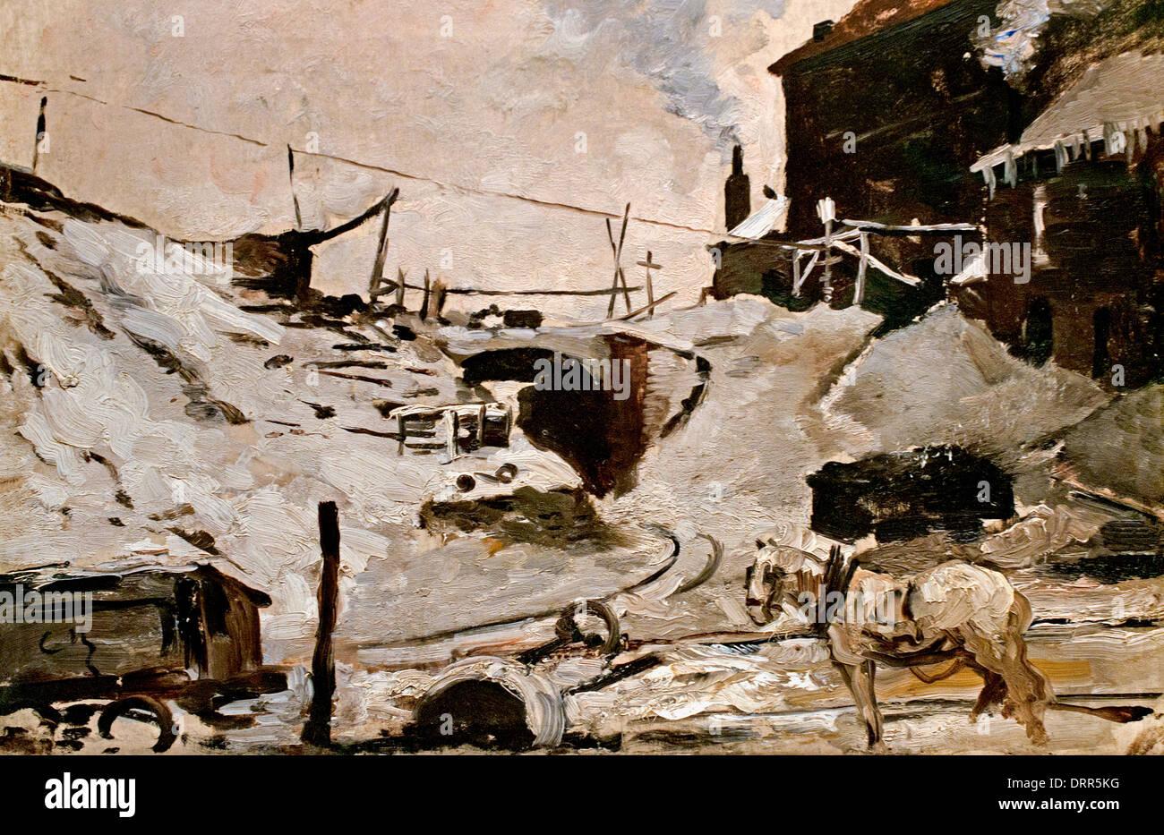 Coal Mine in the Snow by Constantin Meunier  1831-1905 Belgian Belgium Stock Photo