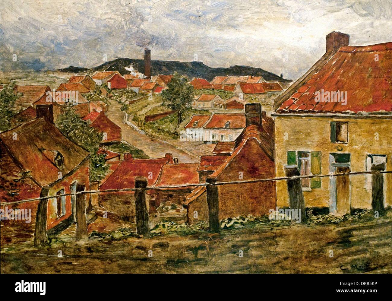 The Red Roofs by Constantin Meunier  1831-1905 Belgian Belgium - Stock Image