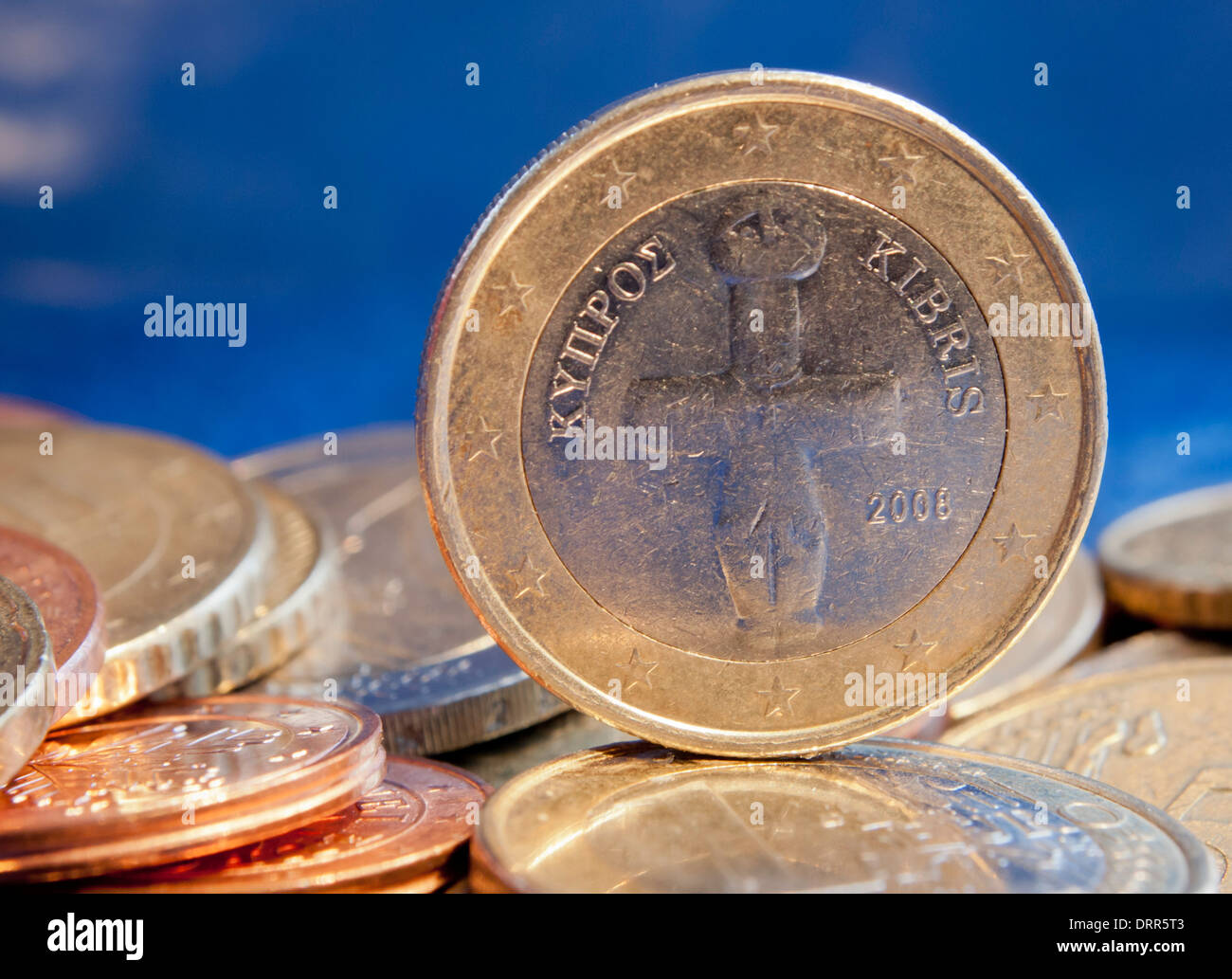 One Euro coin of Cyprus - backside showing the 'Idol of Pomos', a 5000 year old artefact - Stock Image