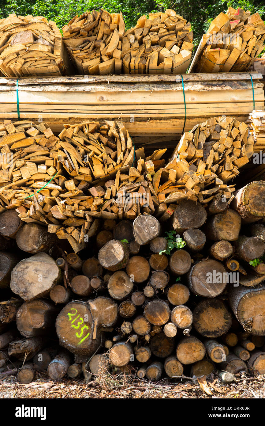 Timber planks and logs stacked to become seasoned wood at Interlaken in the Bernese Oberland, Switzerland - Stock Image
