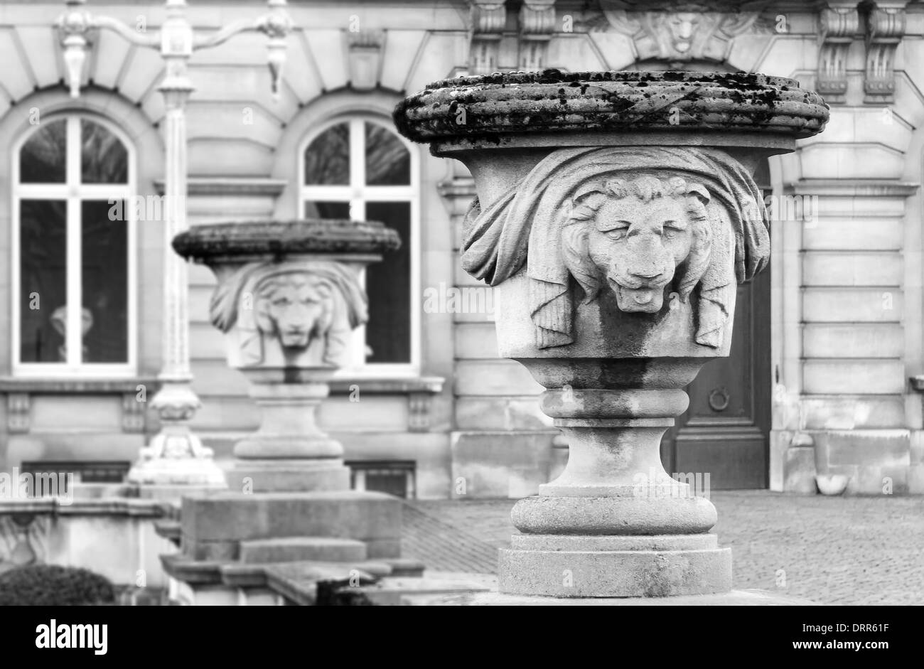 Sculptures in front of Belgian Royal palace in Brussels Stock Photo