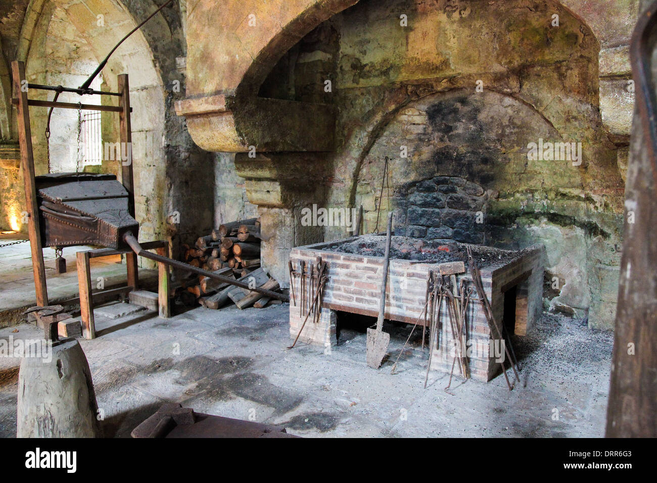 Medieval stone fireplace in the Abbey of Fontenay, Burgundy, France. Stock Photo