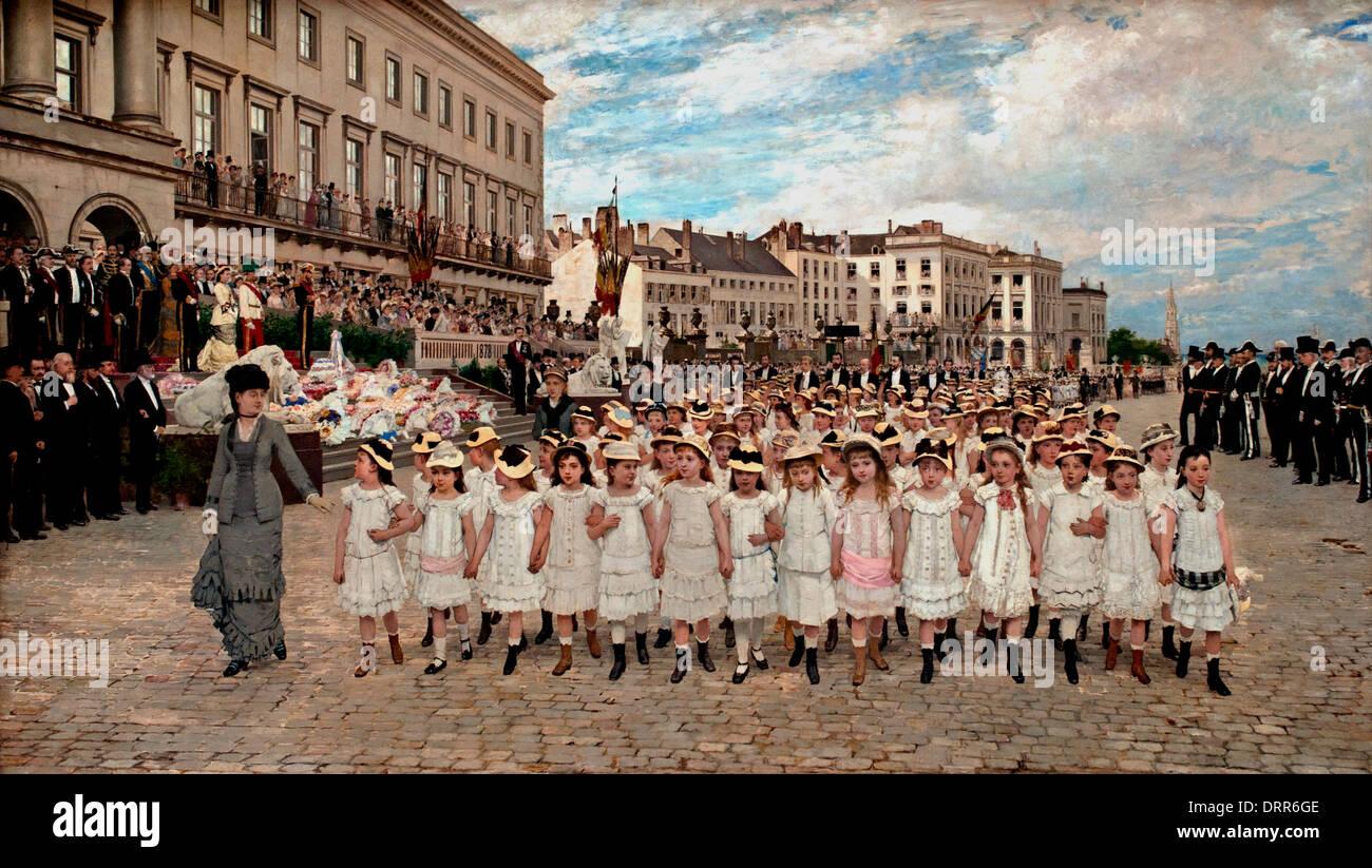The parade of schools 'in 1878 by the Belgian painter Jan Verhas (1834–1896)   Flemish Belgian Belgium - Stock Image