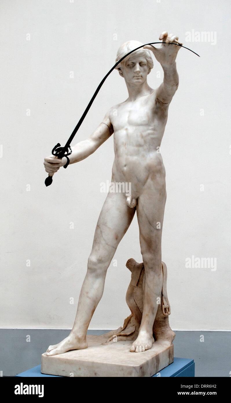 The Man with the sword 1876 Charles van der Stappen 1843-1910 Belgian Belgium - Stock Image