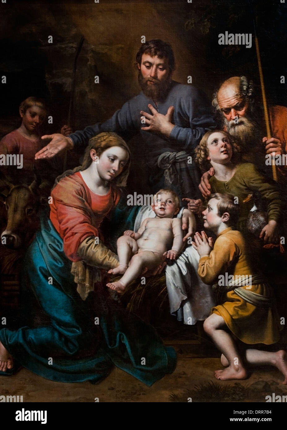 The Adoration of the Shepherds by Theodoor van Loon  1581-1649 Dutch Netherlands - Stock Image